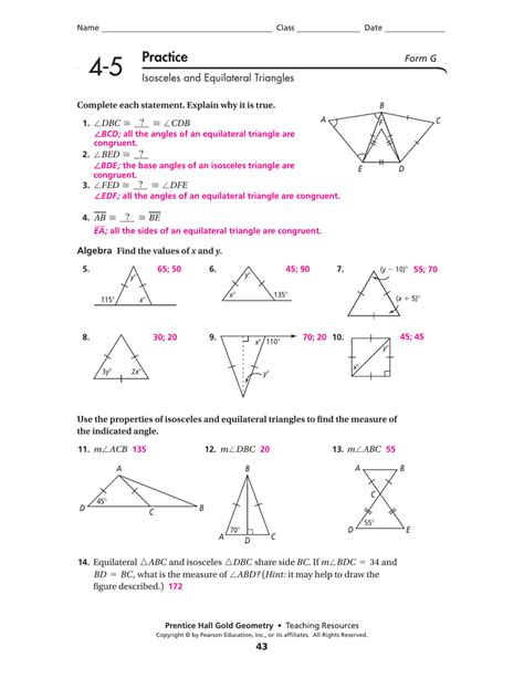 Chapter 4 test, form 2c (continued) 9. Isosceles And Equilateral Triangles Worksheet Answers ...
