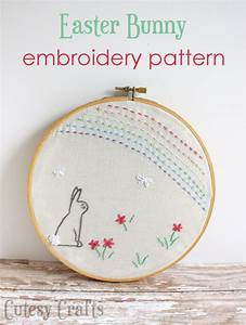 Easter Bunny Hoop - Free Embroidery Pattern - Cutesy Crafts