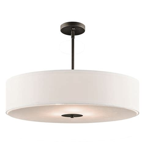white drum pendant light kichler drum pendant light with white shade in olde bronze