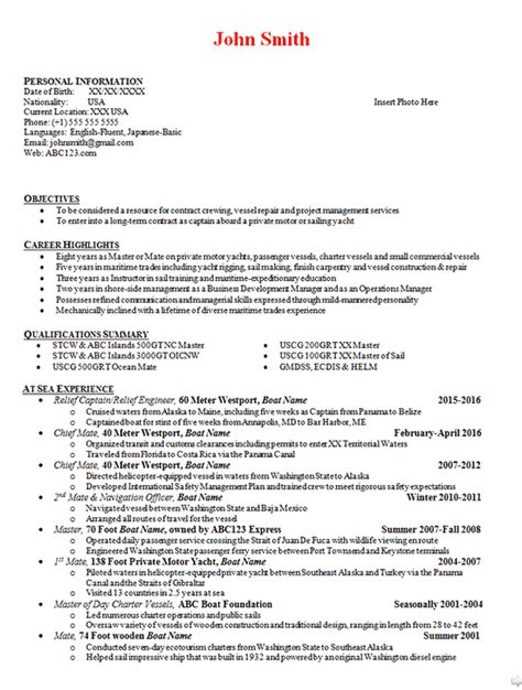 boat captain resume exle boating engineer manager mate