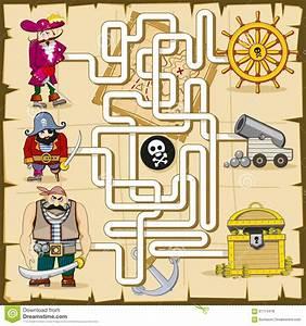 Labyrinthe Avec Des Pirates Jeu De Vecteur Pour Des Enfants Illustration de Vecteur Image