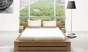 Lit En Bois Massif : lit bois massif contemporain noyer clair haut de gamme lounge ~ Teatrodelosmanantiales.com Idées de Décoration