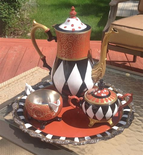 hand crafted custom hand painted silver tea set teapot whimsical art by michele sprague design