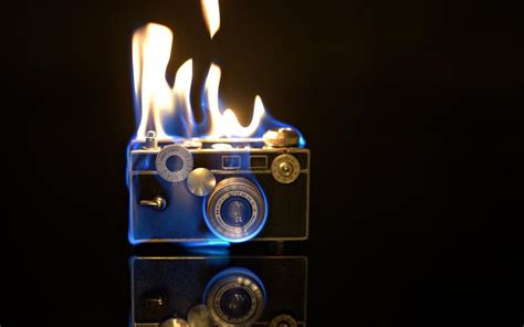 Camera flames, fire, creative pictures wallpaper