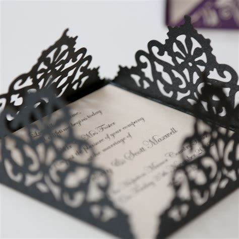 laser cut wedding invitations lace edged black square laser cut wedding invitation
