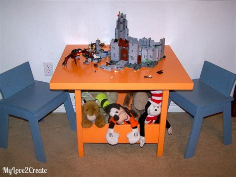 ana white kids storage table  thumb chairs diy projects