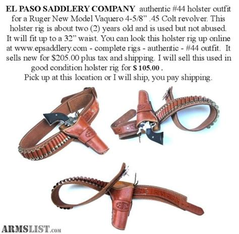 armslist  sale el paso saddlery company holster rig