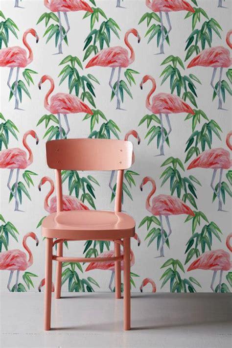 pink flamingo wallpaper tropical removable wallpaper
