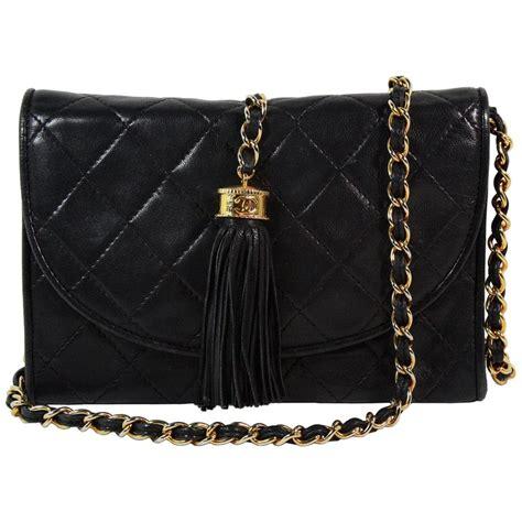 chanel black leather quilted crossbody bag  tassle  sale  stdibs