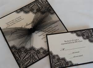black and wedding invitations black chantilly lace invitation with tulle accents