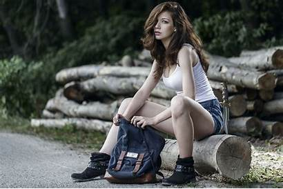 Shorts Sitting Woods Jean Nature Outdoors Legs