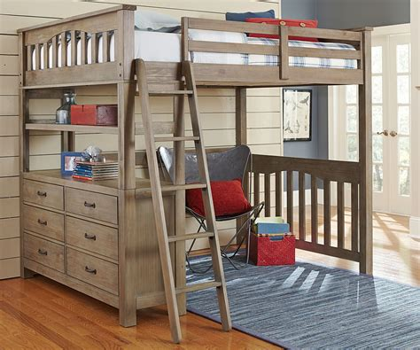art van loft bed with desk brown wood loft bed full size design with drawers storage