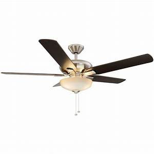 Hampton bay holly springs in led brushed nickel ceiling fan with light kit the home