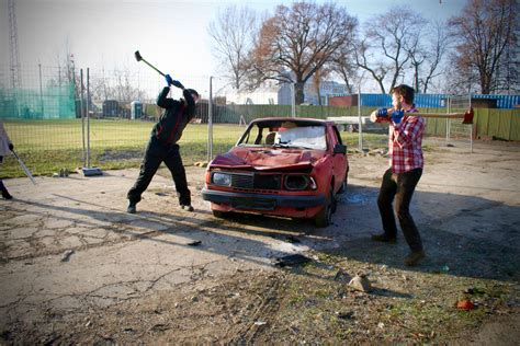 car destroying  prague  stag dos parties vox travel