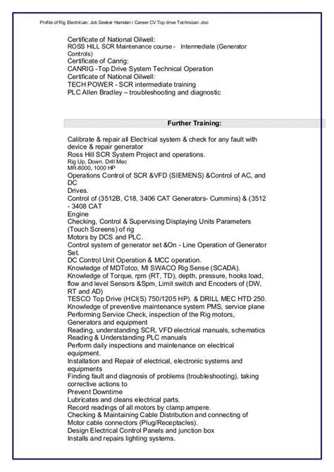 Power Generator Technician Resume by Cv Electrician