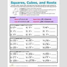Building Exponents Squares, Cubes, And Roots  6th Grade Math  Algebra Worksheets, Teaching