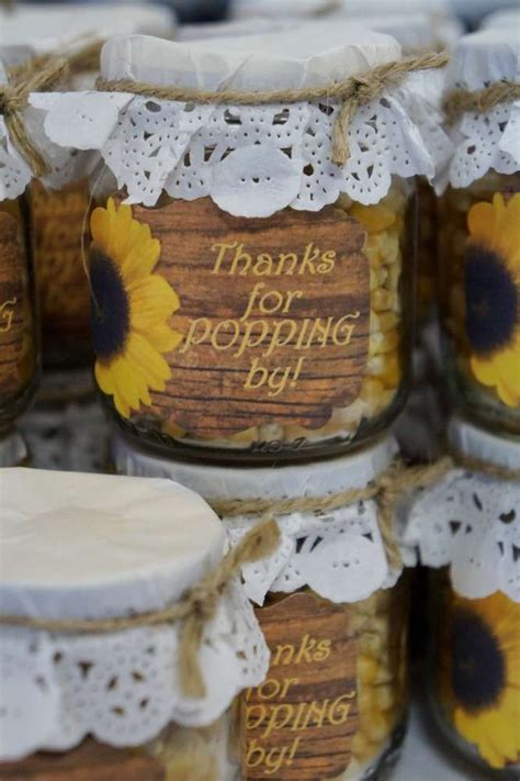 popcorn favors   sunflower bridal shower party