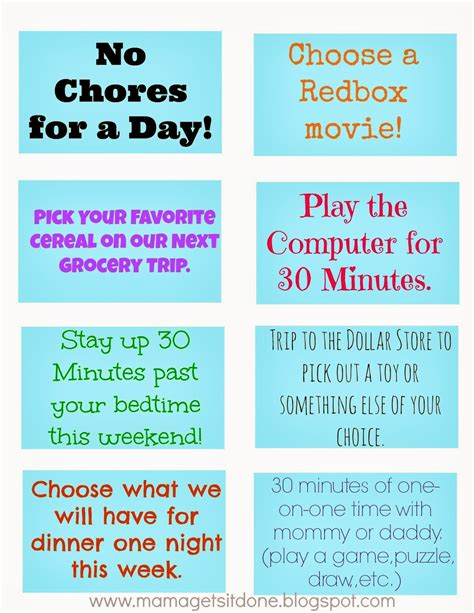 mama    chore chart  reward coupons