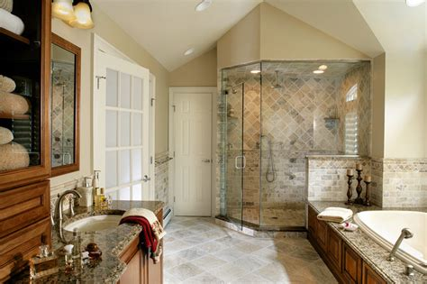 master bathroom remodel  natural stone  oversized