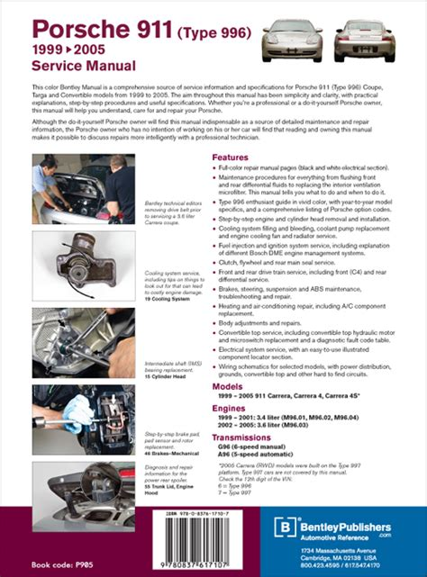 service repair manual free download 2005 porsche 911 free book repair manuals back cover porsche 911 996 1999 2005 repair information bentley publishers repair