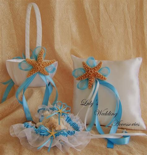 beach wedding flower girl basket  ring bearer pillow