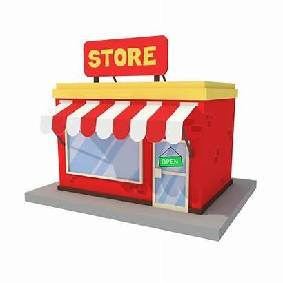 Cartoon Low Retail Window Building Poly 3d