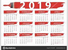2019 Красной Щетки Стиле Календаря Итальянской Религиозные