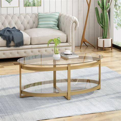 Merax black highlight glass top cocktail coffee table this very table can be a great addition to any modern space. Bell Modern Glam Tempered Glass Oval Coffee Table with Iron Frame, Brass Finish - Walmart.com ...
