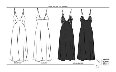 fashion flats slip dress digital pattern cutting studio