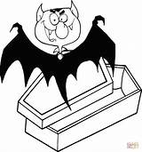 Coloring Dracula Coffin Pages Count Vampire Drawing Printable sketch template