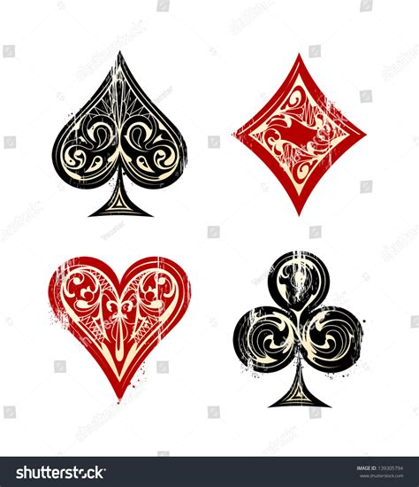 vintage playing cards symbols set vector stock vector