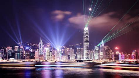 lights hong kong city skyline citynight light beams