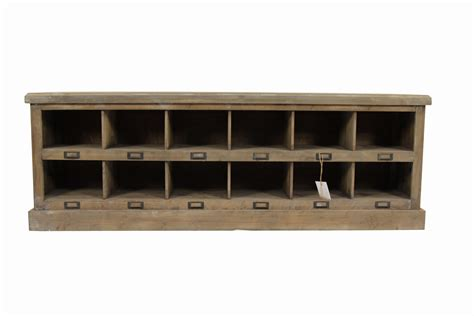 meuble bas rangement bois 12 rangements 154 5x32x53cm