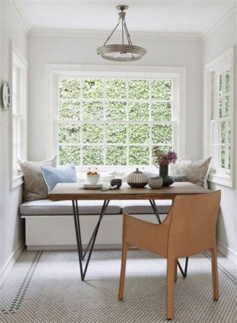 space saving kitchen nook design  window seat  storage