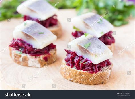 canape toast canape herring with beets on rye toast appetizer