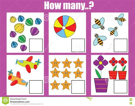 Counting Educational Children Game How Many Objects Task Stock Image  Image Of Education