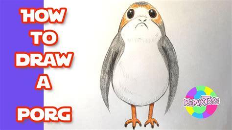 draw  porg  star wars   jedi youtube