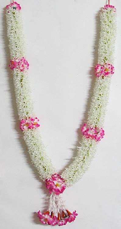 white jasmine flower garland  pink flowers