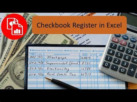 create  checkbook register  excel youtube