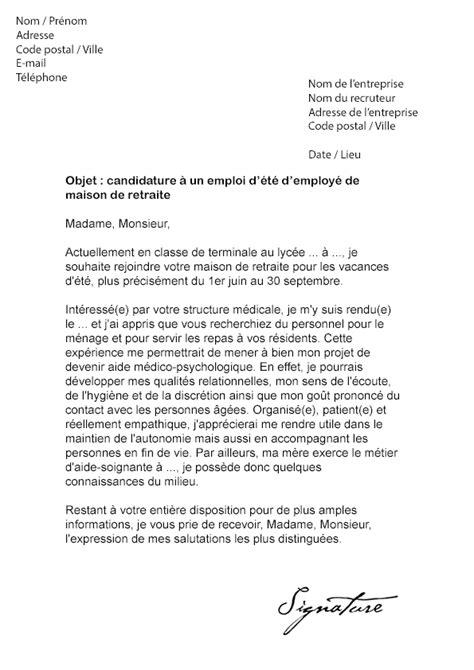 lettre de motivation pour maison de retraite lettre de motivation d 233 t 233 maison de retraite mod 232 le de lettre