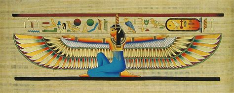winged maat  papyrus painting
