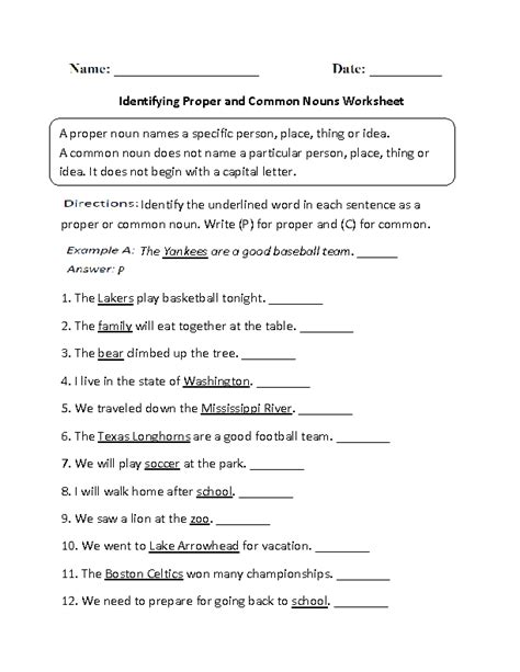 identifying proper and common nouns worksheet part 1