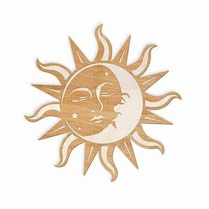 Sun Moon Face Engraved Cut Wood Sign