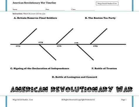 american revolutionary war timeline worksheet h o m e s