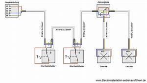 Elektrik Selber Verlegen : schaltplan einer wechselschaltung mit zwei lampen ~ Lizthompson.info Haus und Dekorationen