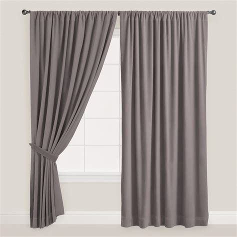 gray velvet dual tab top curtain world market