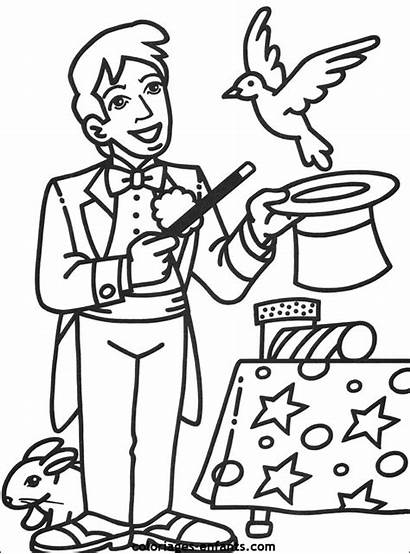 Cirque Coloriage Coloriages Coloring Magician Circus Characters