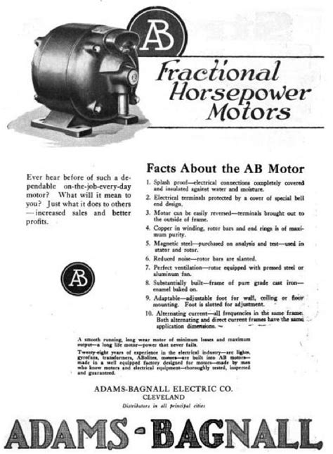 Fractional Horsepower Electric Motors by Bagnall Electric Co History Vintagemachinery Org