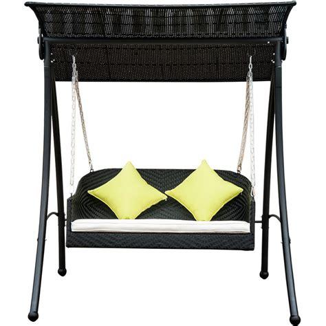 balancelle balancoire fauteuil acier resine rotin 2 places