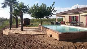 terrasse deco bois concept a saint hilaire du rosier With superb terrasse piscine semi enterree 1 les piscines en bois en photo